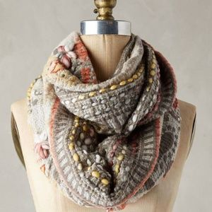 Anthropologie Alois Embroidered Infinity Scarf